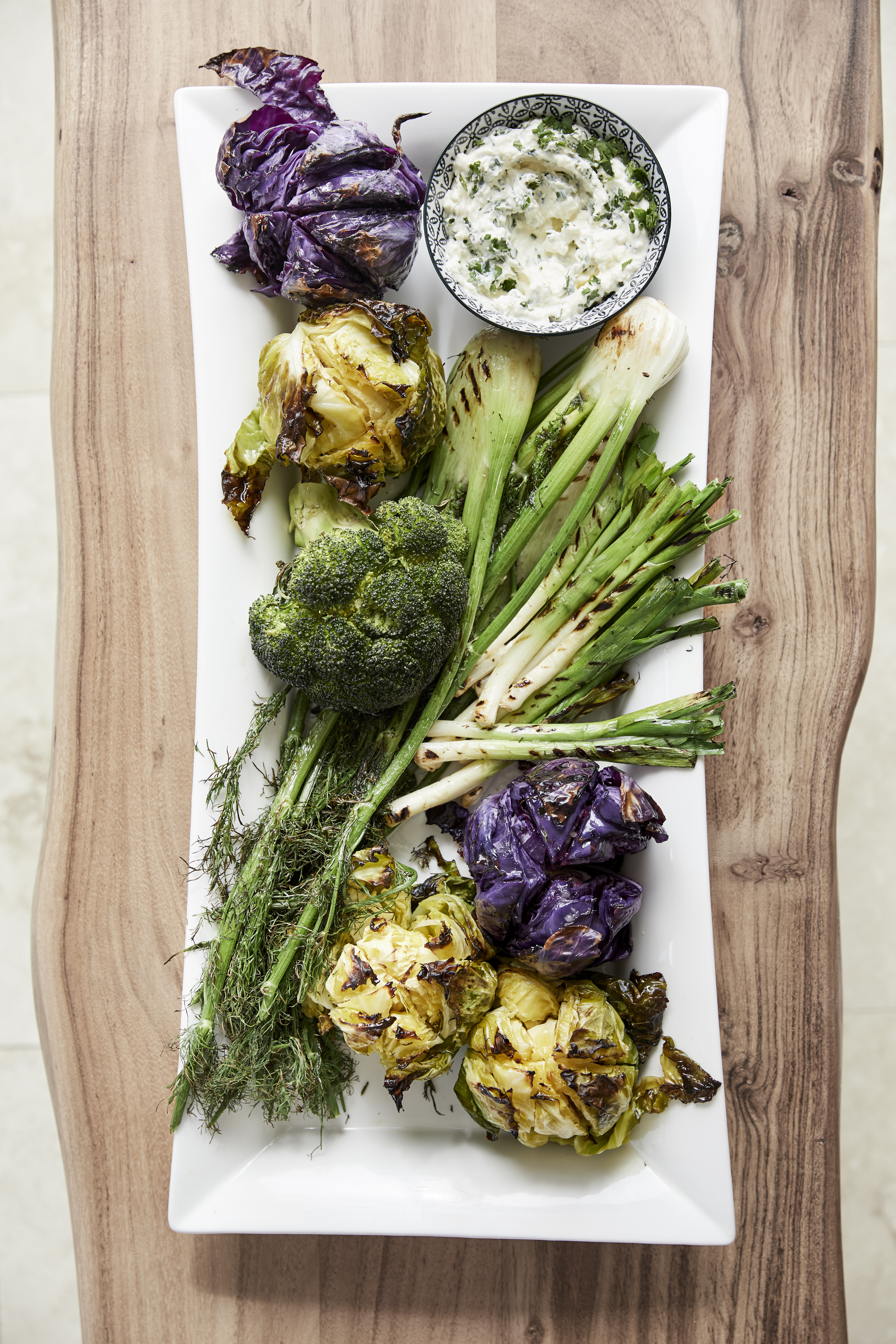 WHOLE ROASTED FENNEL, BROCCOLI AND CABBAGE WITH A FETA AND HERB DIP